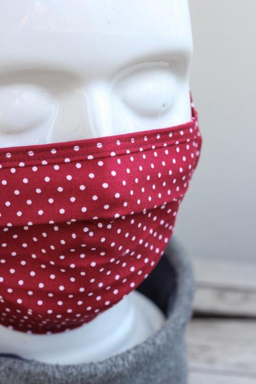 Mundbedeckung Mund-Nasen-Maske waschbar gepunktet rot
