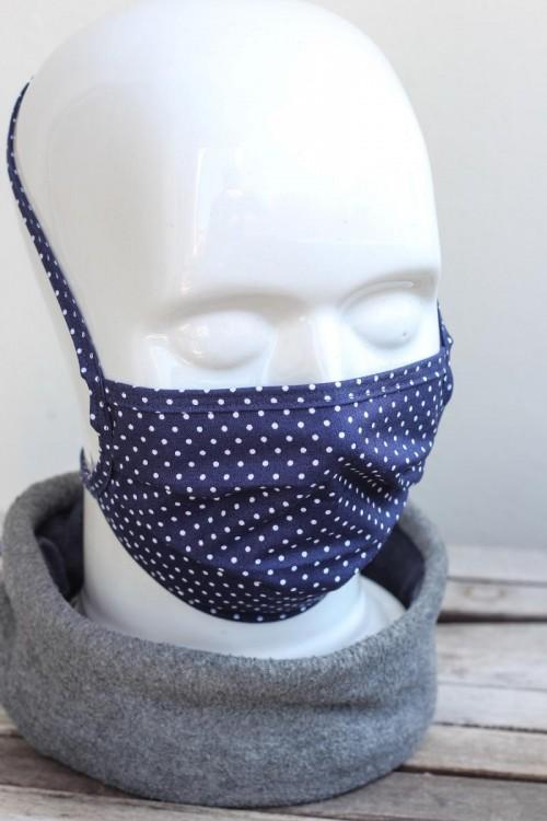 Mundbedeckung Mund-Nasen-Maske waschbar gepunktet marineblau