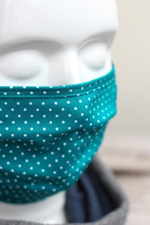 Mundbedeckung Mund-Nasen-Maske waschbar gepunktet petrol