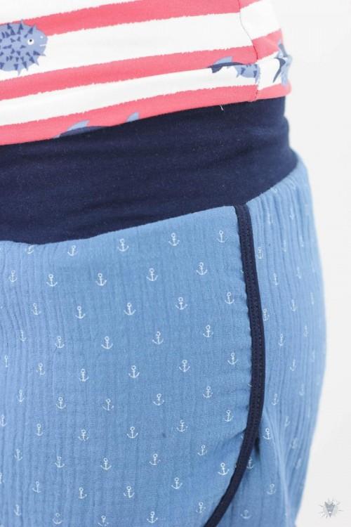kurze Musselin-Hose blau mit Ankern, marine Jerseybündchen