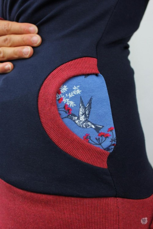 Kapuzenpulli marine mit Kolibris auf blau