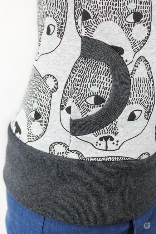 Kapuzenpulli grau mit Füchsen und Bären