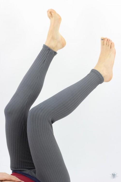 Leggings aus Ripp-Viskosejersey, grau