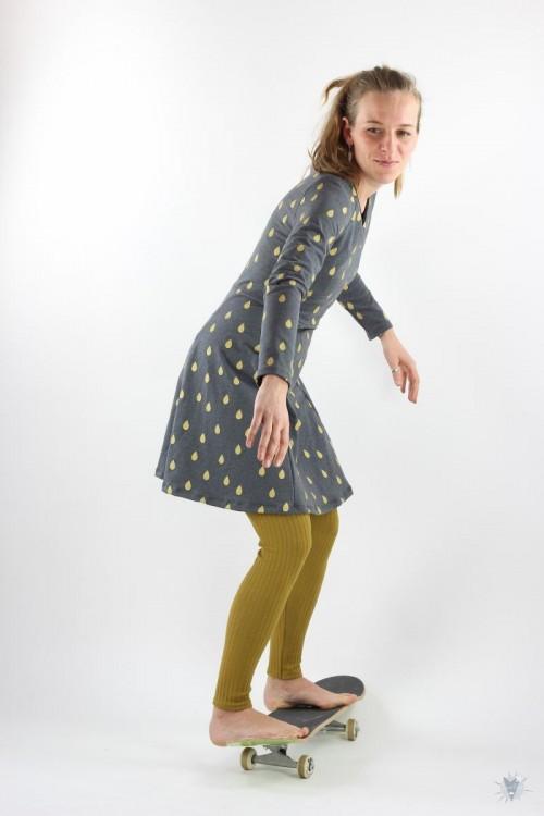 Skaterkleid mit langen Ärmeln, Goldregen mit *Glitzereffekt* auf anthrazit