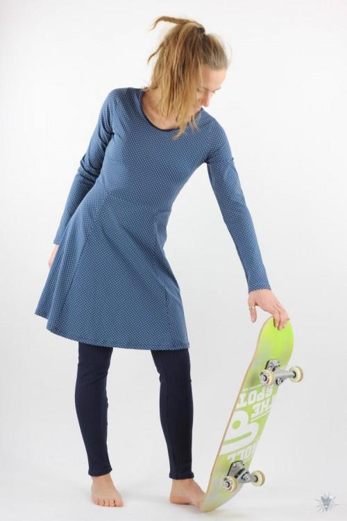 Skaterkleid mit langen Ärmeln, türkise Punkte auf dunkelblau