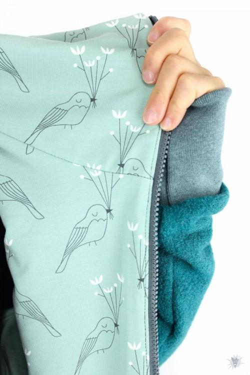 Wolljacke smaragd mit Blumenvögeln M