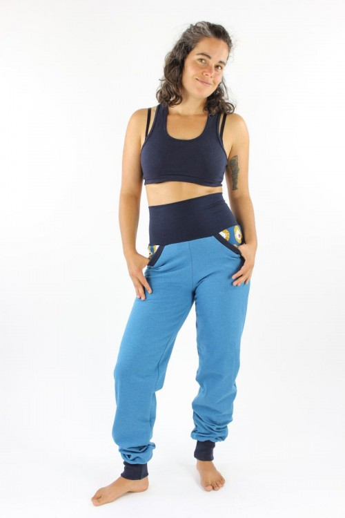 Sweat-Jogginghose blau meliert mit Löwen