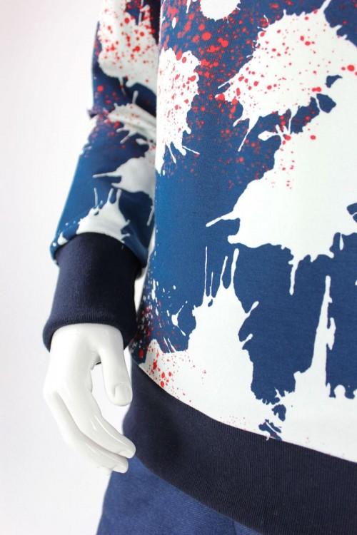 Kinder-Kapuzenpulli blau mit Farbklecksen