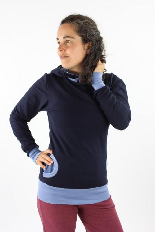 Damen-Kapuzenpulli marineblau mit Sternen