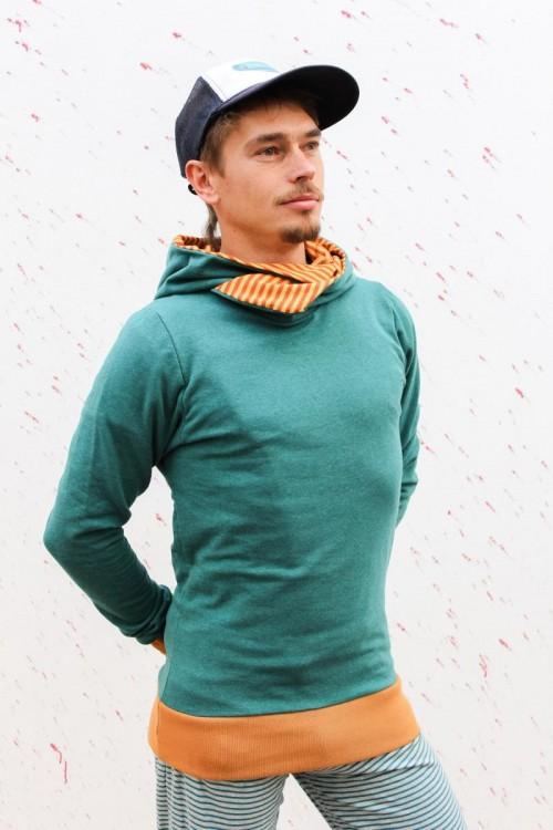 Kapuzenpulli grün meliert mit Streifen