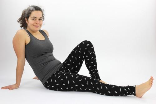 Leggings schwarz mit Federn
