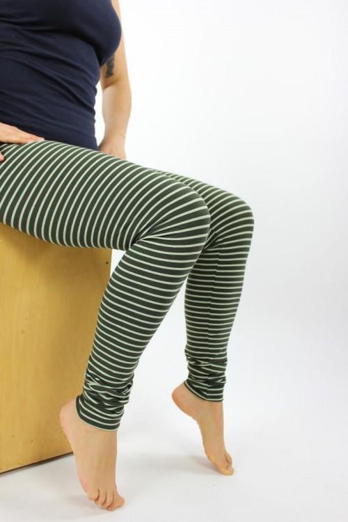 Leggings grün gestreift GOTS