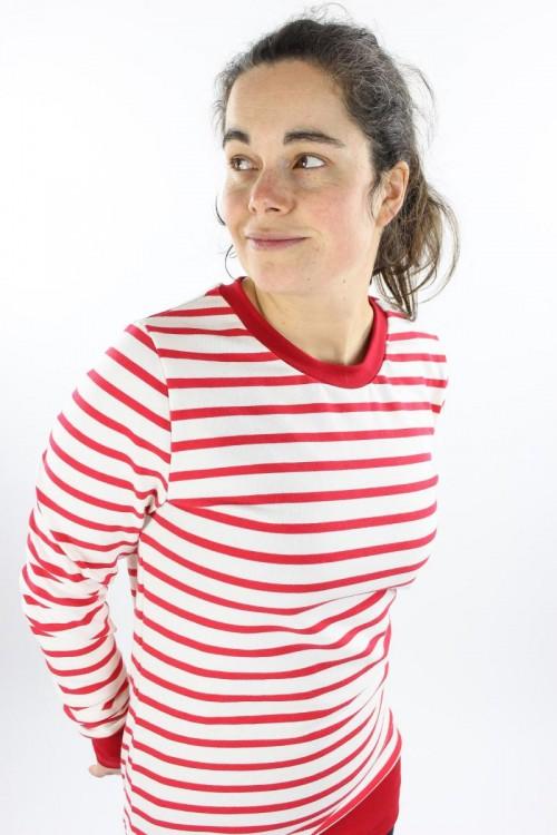 Langarmshirt aus Strickjersey weiß/rot