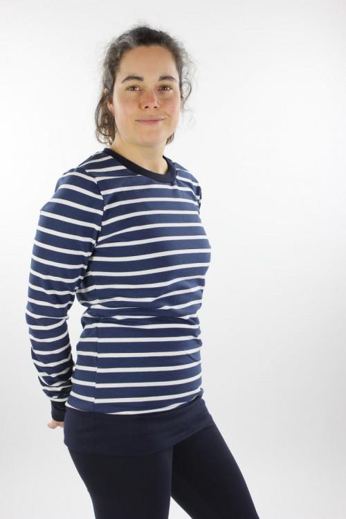 Langarmshirt aus Strickjersey blau/weiß