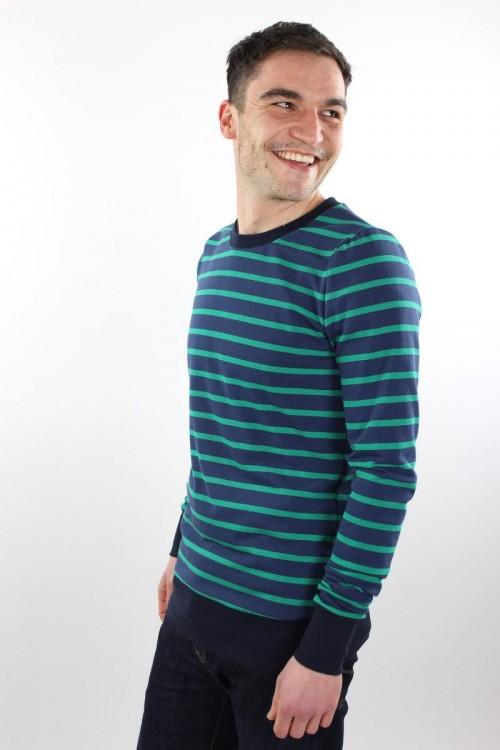 Langarmshirt aus Strickjersey blau/grün