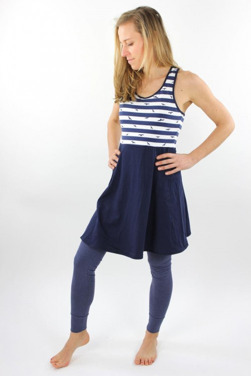 Skaterkleid ärmellos marineblau weiß gestreift mit Vögeln