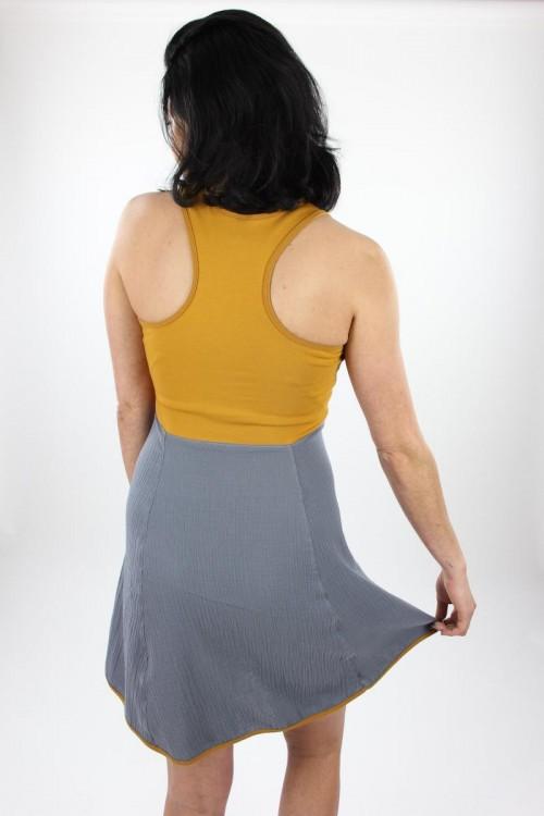 Skaterkleid ärmellos mit Musselin grau Jersey gelb