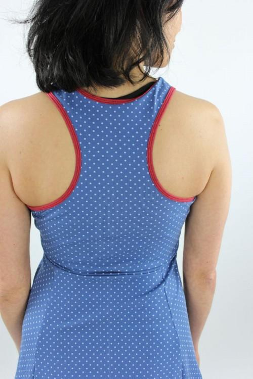 Skaterkleid ärmellos blau mit Punkten