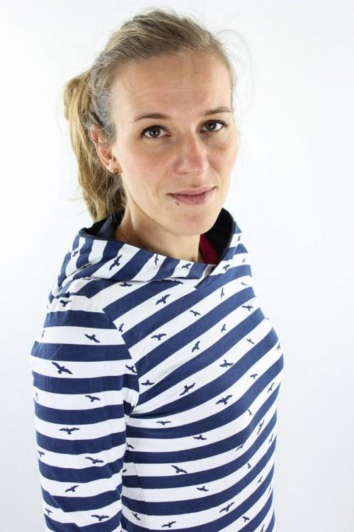 Damen-Sommerpulli blau-weiß gestreift mit Vögeln