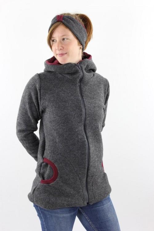 Damen-Wolljacke anthrazit und beere meliert