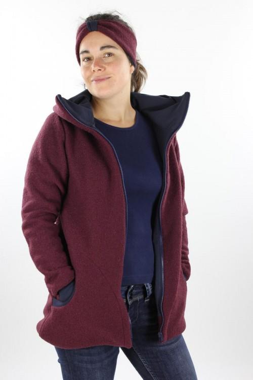 Damen-Wolljacke beere und marine
