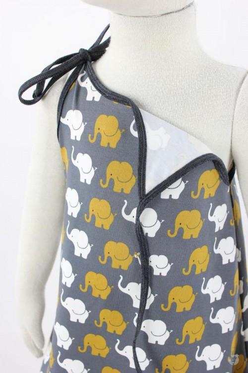 Kinder-Sommerkleid zum Binden dunkelgrau mit Elefanten