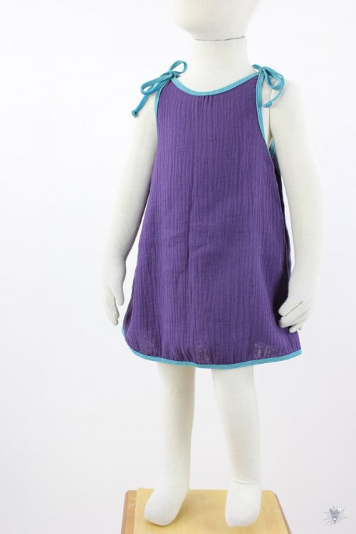 Kinder-Sommerkleid zum Binden Musselin lila