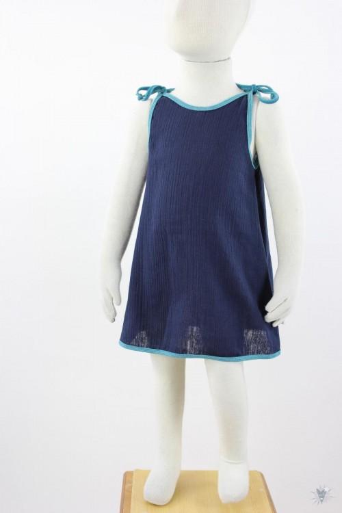 Kinder-Sommerkleid zum Binden Musselin marineblau