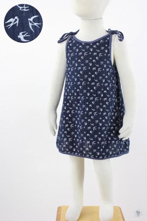 Kinder-Sommerkleid zum Binden Musselin marine Schwalben