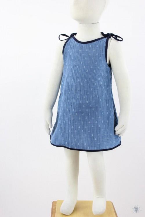 Kinder-Sommerkleid zum Binden Musselin blaue Anker
