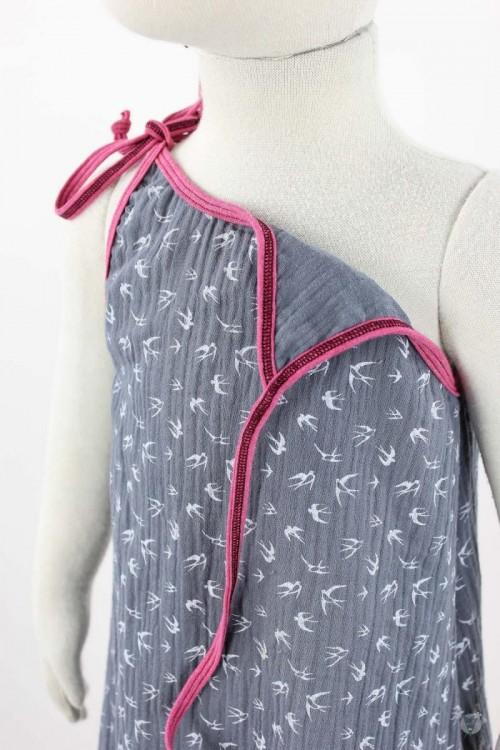 Kinder-Sommerkleid zum Binden Musselin graue Schwalben