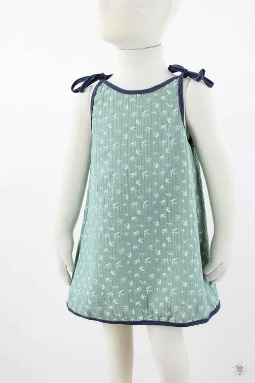 Kinder-Sommerkleid zum Binden Musselin grüne Schwalben