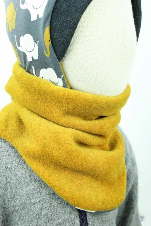 Fleece-Schlupfschal zum Wenden, gelb meliert/Elefanten auf grau