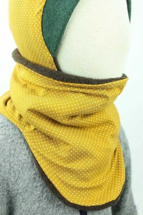 Fleece-Schlupfschal zum Wenden, braun meliert/Punkte auf gelb