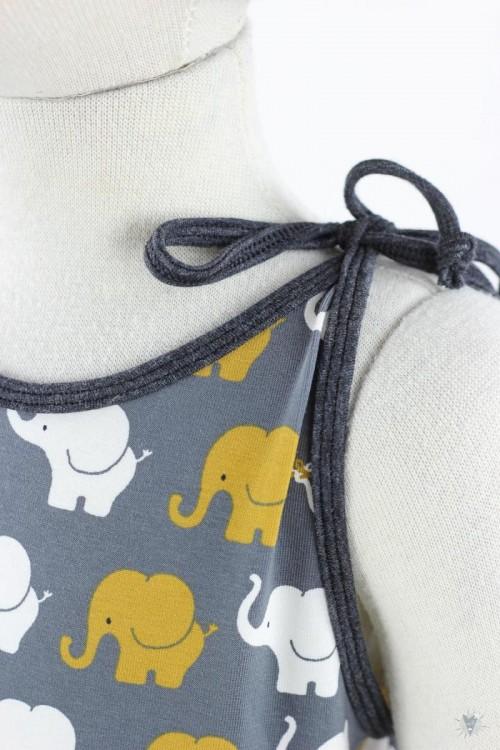 ärmelloser Jumpsuit zum Binden, gelbe Elefanten auf grau