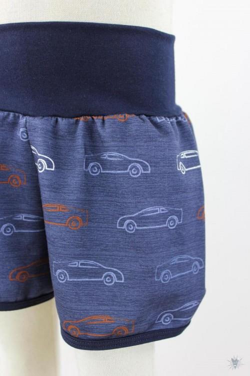 kurze Hose für Kinder mit Autos auf marine meliert