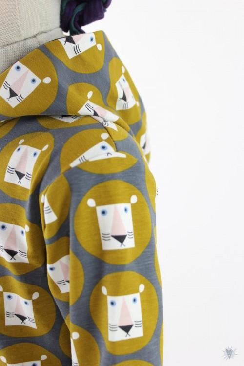 Kinder-Kapuzenpulli aus Jersey mit Löwen im Retrolook