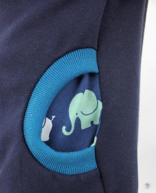Kinder-Kapuzenpulli, marine mit Elefanten auf blau
