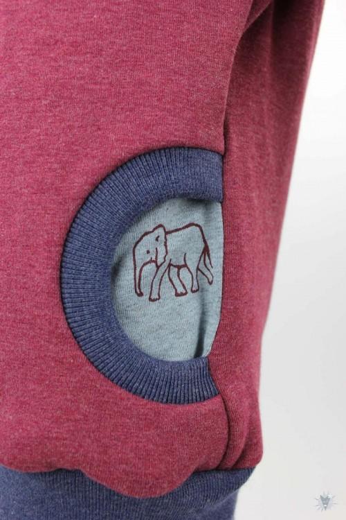 Kinder-Kapuzenpulli, rot meliert mit Elefantenfamilie auf grau
