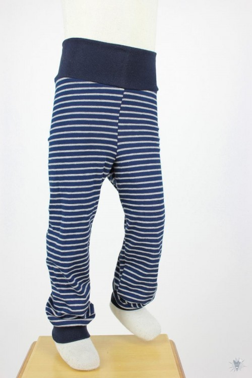 Kinder-Leggings marine/grau gestreift