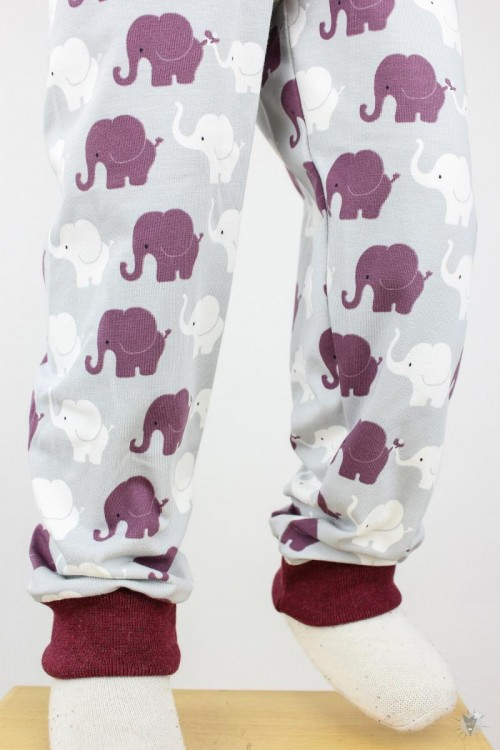 Kinder-Leggings hellgrau mit Elefanten