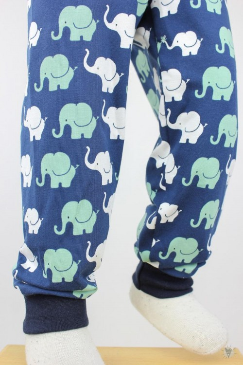 Kinder-Leggings blau mit Elefanten