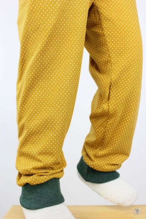 Kinder-Leggings gelb mit Punkten