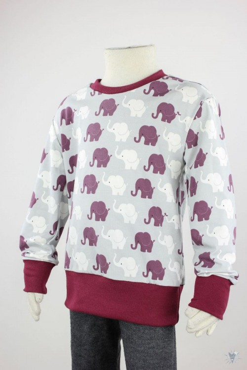 Kinder-Longsleeve mit Elefanten auf hellgrau