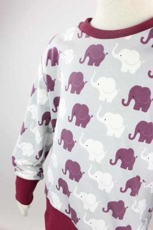 Kinder-Schlafanzug mit Elefanten auf hellgrau