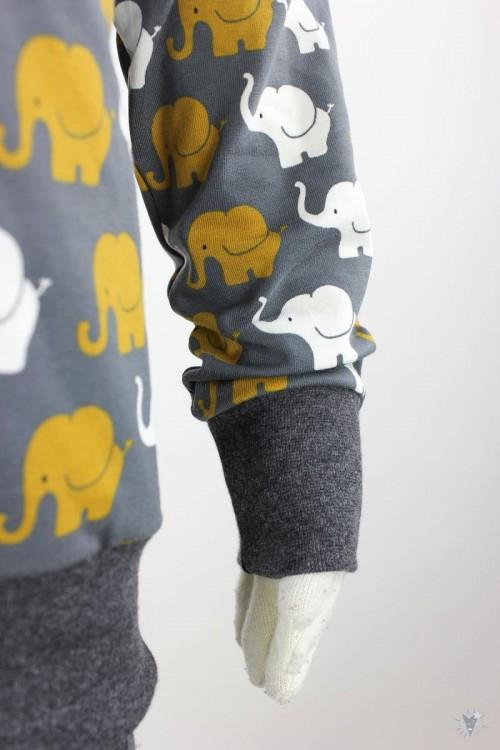 Kinder-Longsleeve mit Elefanten auf dunkelgrau