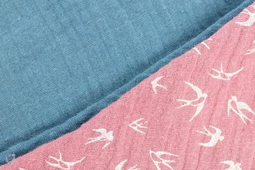 Musselintuch zum Wenden, Vögel pink/taubenblau