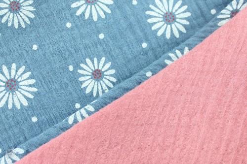 Musselintuch zum Wenden, Blumen taubenblau/pink