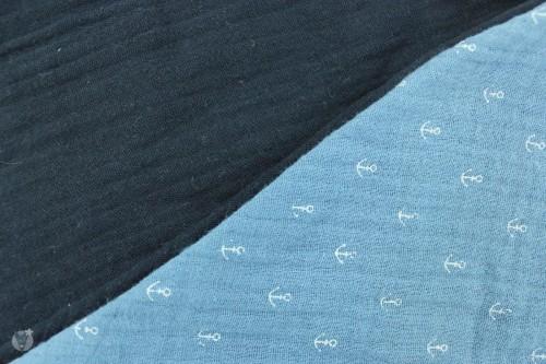 Musselintuch zum Wenden, Anker taubenblau/marine