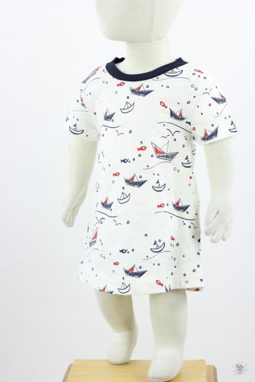 Kinder-Jerseykleid mit Fischen und Booten (und noch mehr bei Sonnenlicht) *UV-STOFF*